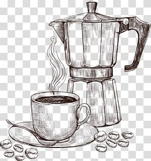 esboço de cafeteira, café árabe Cafeteira Xícara de café Preparação de café, máquina de café de esboço png