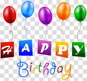 Balão de aniversário, feliz aniversário com balões, feliz aniversário texto png