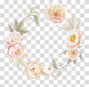 Convite de casamento fronteira flores coroa de flores, folhas em aquarela, modelo de coroa de rosa rosa png