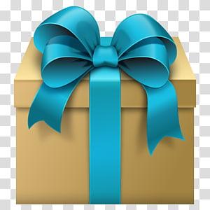 caixa de presente com ilustração de fita verde-azulado, fita de caixa de presente, caixa de presente com laço azul grátis PNG clipart