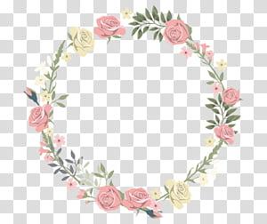 Moldura de convite de casamento Flor Pintura em aquarela, borda circular decorativa de Rosa, coroa de rosa cor de rosa e amarela png