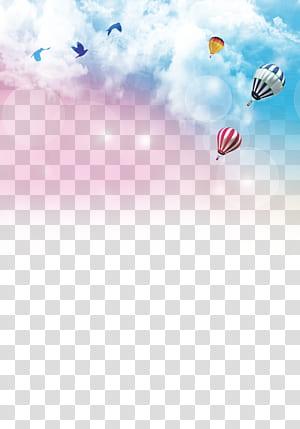 Cartaz de recrutamento de papel Cerimônia de formatura, fundo do céu colorido, ilustração de balão de ar quente PNG clipart