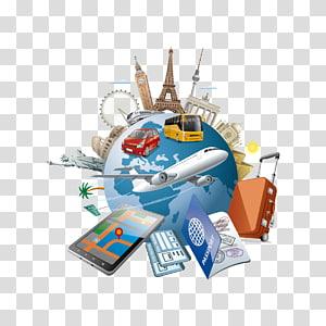 ilustração da terra, ilustração de viagens de turismo, elementos de viagens globais PNG clipart