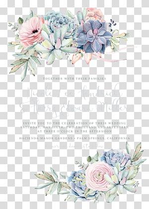 Convite de casamento Planta suculenta de papel, suculentas boêmias, verdes e rosa png
