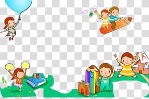 Desenho a lápis, crianças dos desenhos animados livro fundo de decoração lápis, colagem de cinco sortidas png