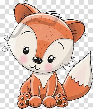 Ilustração de raposa marrom e branca, Fox Cartoon Cuteness Illustration, Pintado à mão Raposa vermelha png
