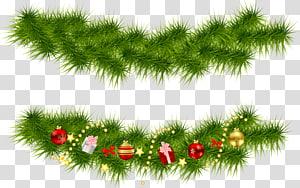 ilustração de decoração de Natal verde e vermelha, guirlanda de árvore de Natal, guirlandas de pinheiro de Natal PNG clipart