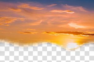 ilustração do sol, céu nuvem pôr do sol crepúsculo, céu amarelo PNG clipart
