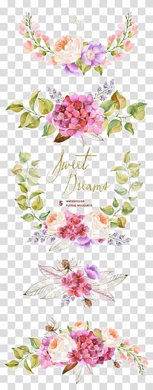 Buquê de flores Pintura em aquarela Convite de casamento, borda de flores em aquarela, ilustração de flores cor de rosa e roxas png