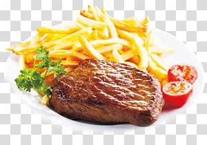 bife, batatas fritas e fatia de tomate no prato, bife xc0 à la carte Okuklje Omelette Feijoada, fundo criativo de batatas fritas PNG clipart