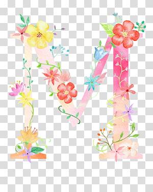 M com ilustração de sotaque de flor, letra flor M Poster, letra de flores M PNG clipart