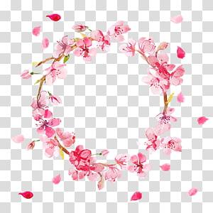 Ilustração de flor rosa grinalda pétala, flor de pêssego feita de grinaldas, grinalda de flor rosa PNG clipart