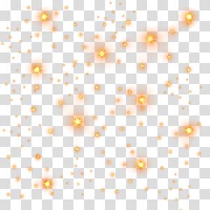 Motivo de estrela clara, estrelas douradas, luz cintilante laranja PNG clipart