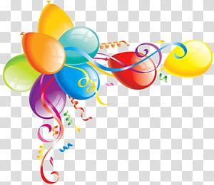 Bolo de aniversário balão, balões grandes, balão de cores sortidas s PNG clipart