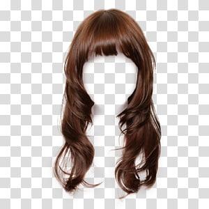Peruca de penteado Cabelo comprido, material de vestido de penteado de peruca grátis, fosco, peruca marrom PNG clipart
