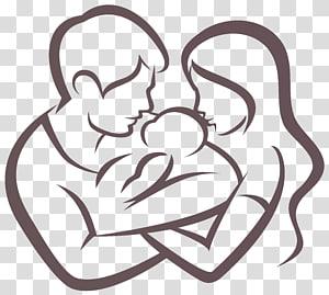 Infantil pai criança família, personagens família, homem e mulher abraçando bebê ilustração PNG clipart