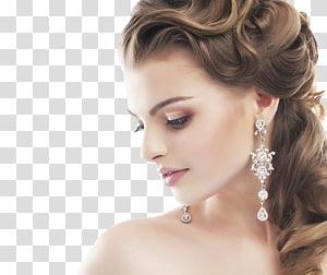 mulher usando brincos de candelabro de cor prata, penteado de noiva casamento pente salão de beleza, noiva PNG clipart