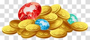 ilustração de lote de moeda de ouro, ouro de moeda do tesouro, moedas de ouro e tesouro de diamantes png