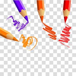 ilustração de lápis de quatro cores, desenho a lápis colorido, lápis de cor criativo PNG clipart