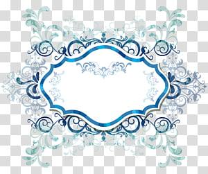 ilustração de fronteira de filigrana branca e azul, banner da Web euclidiana, fronteira de moda PNG clipart