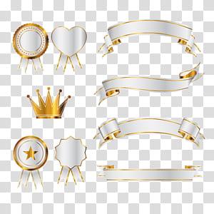 Ícone euclidiano, ilustração de banner, coroa e fita de ouro png