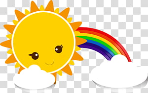 Céu Cartoon amarelo, sol arco-íris nuvens, arco-íris e sol PNG clipart