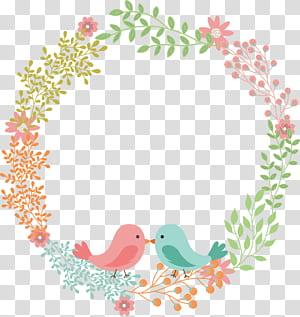 Convite de casamento guirlanda de flores de guardanapo, rótulo de texto amor pássaro flor rattan grinalda, grinalda floral multicolorida PNG clipart