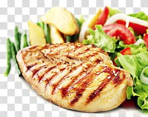 comida cozida com alface e tomate fatiado, Frango assado Bife Dedos de frango Carne de frango Salada, Frango grelhado PNG clipart