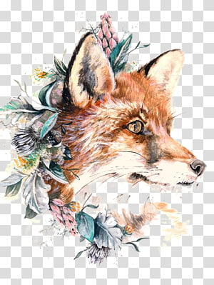 raposa multicolorida e folhas de pintura, raposa vermelha tatuagem de papel lobo cinzento, raposa png