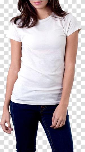 mulher vestindo camiseta branca, roupas de moletom com capuz impresso, mulher em camiseta branca PNG clipart