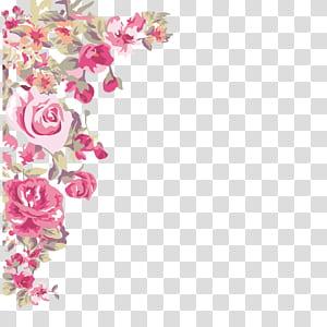 Flor ,, canto de flores pintadas, rosas cor de rosa png