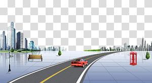 cupê vermelho cruzando na estrada de asfalto, estrada estrada cidade, material de fundo de construção de estrada urbana png