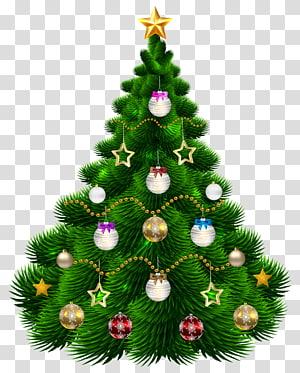 árvore de Natal verde com ilustração de enfeites, enfeite de árvore de Natal, linda árvore de Natal com enfeites PNG clipart