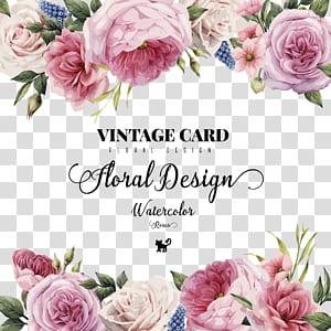 Convite de casamento Cartão de flores, HD rosas pintadas à mão em aquarela, propaganda de desenhos florais de cartão vintage PNG clipart