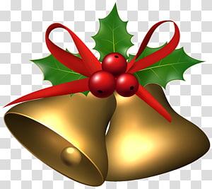 ilustração de sinos de cor bronze, azevinho comum Living Word United Methodist Church Christmas, grandes sinos de Natal com Holly png