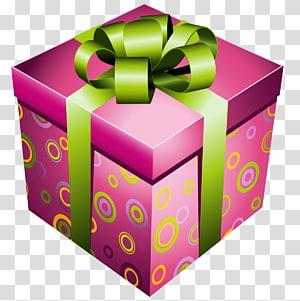 Ícone euclidiano de presente, caixa de presente rosa com laço verde, caixa de presente rosa png