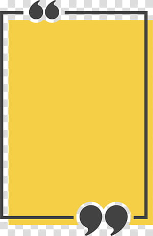 Caixa de texto de mingau ícone de cotação, caixa de título retangular amarelo, ilustração amarela e preta png