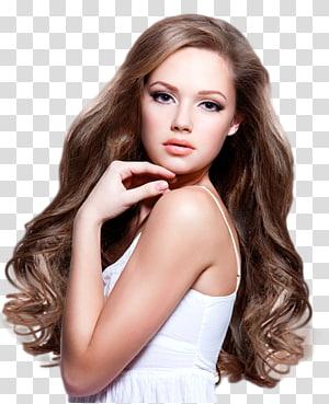 Salão de beleza modelo, modelo de mulher s, mulher em top branco cinta de espaguete posando PNG clipart