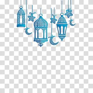 Alcorão Islã, decorações lanterna islâmica, azul pendurado decorações PNG clipart