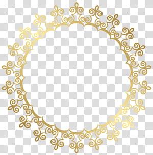 Armação de borda redonda ouro, ilustração redonda ouro png