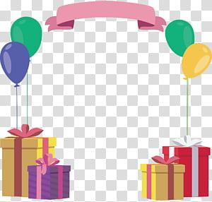 Presente de aniversário, caixa de presente BALÃO Quadro de aniversário, banner rosa com quatro presentes PNG clipart