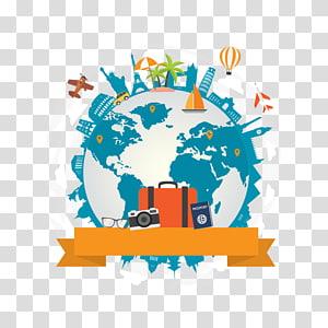 ilustração com tema de viagem do planeta Terra, Dia Mundial do Turismo em Elephanta Organização Mundial do Turismo 27 de setembro, material Global Travel City PNG clipart