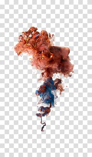 Bomba de fumaça Fumaça colorida Granada de fumaça, efeitos criativos de fumaça colorida, arte marrom e azul PNG clipart