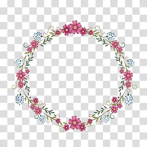 Quadro redondo de flores, ilustração de grinalda de flor vermelha PNG clipart