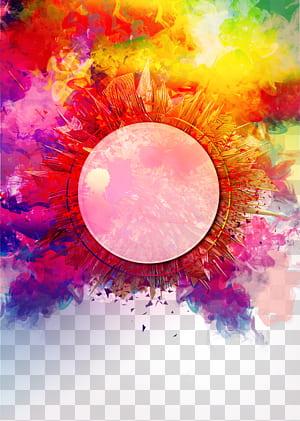 Renderização, fundo de fumaça colorida, redondo multicolorido PNG clipart