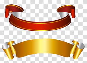 Banners de fita, ouro e vermelho, duas fitas vermelhas e amarelas png