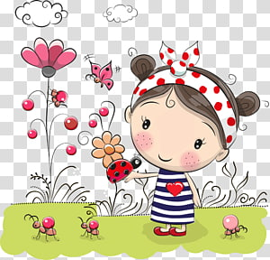 flores menina, menina e joaninha na mão PNG clipart