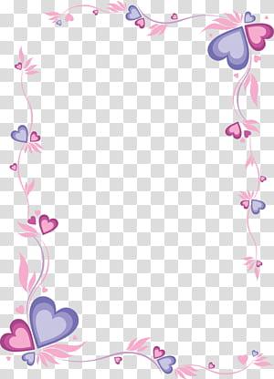 Papel para impressão e escrita Carta, Moldura rosa em forma de coração, Moldura vermelha e roxa png