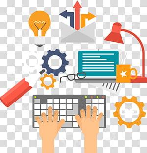 ilustração de pessoa usando o teclado cinza e preto, SEO Search Engine creative PNG clipart