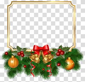 Ilustração de quadro de Natal, árvore de Natal Enfeite de Natal Abeto, Borda dourada de Natal PNG clipart